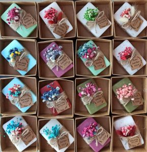 Colorful Homemade soaps for wedding favors.