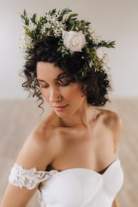 Flower Crown on Melody Gown